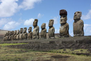 These fifteen moai are a mystery for many people. How did they get there? How did people get them to stand up? Each of them are about 13 feet tall and weight about 14 tons, but there are even larger ones. Photo by Ahu Tongariki, CC BY 2.0.